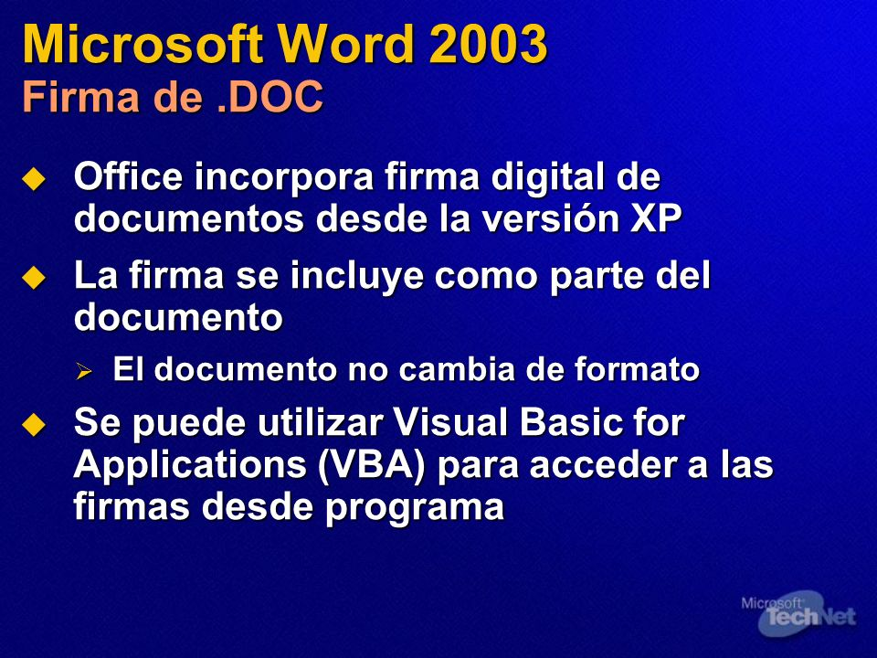 Microsoft Word 2003 Firma de .DOC