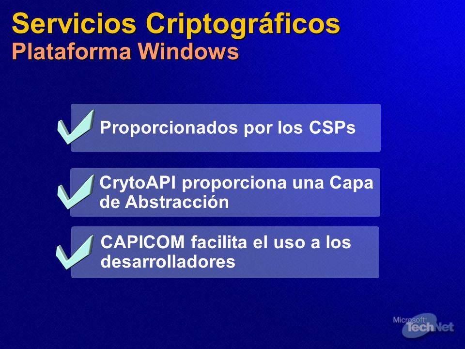 Servicios Criptográficos Plataforma Windows