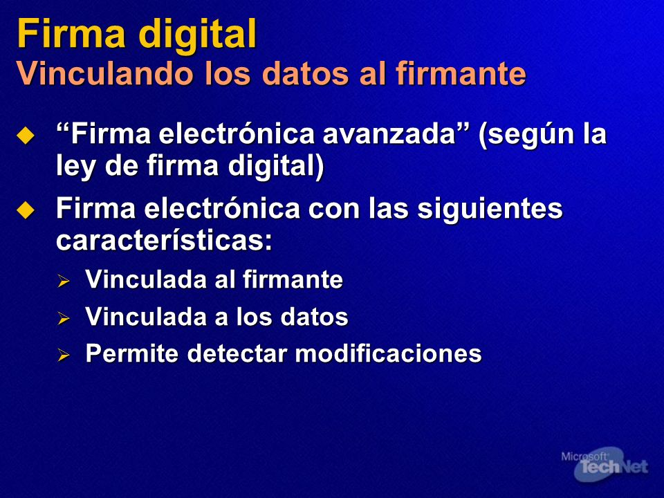 Firma digital Vinculando los datos al firmante