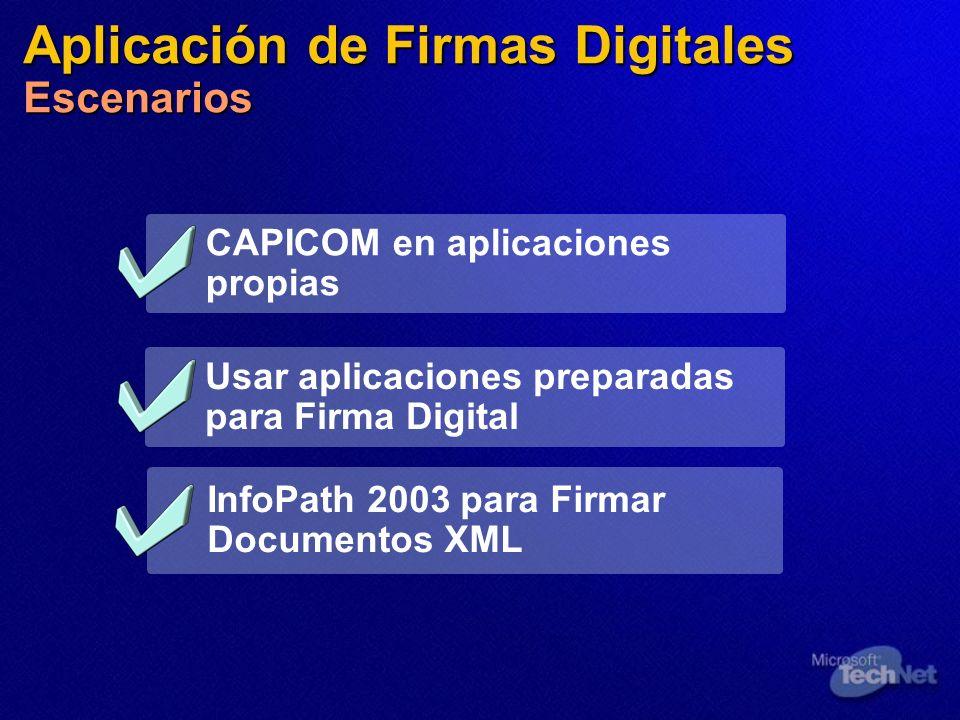 Aplicación de Firmas Digitales Escenarios