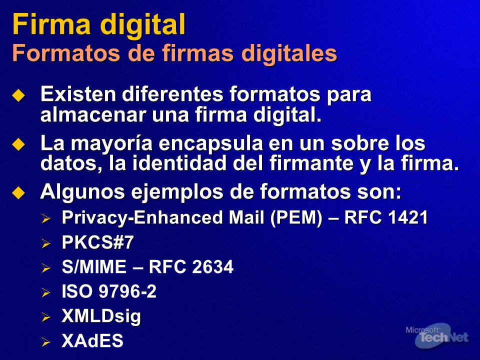 Firma digital Formatos de firmas digitales