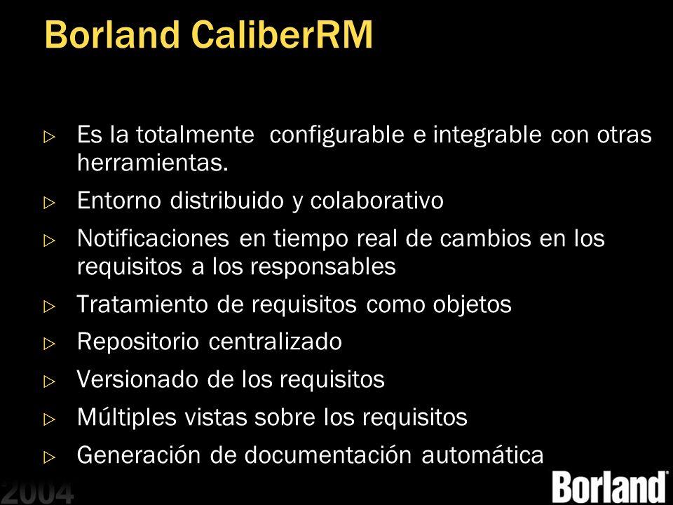 MGB 2003 Borland CaliberRM. Es la totalmente configurable e integrable con otras herramientas. Entorno distribuido y colaborativo.
