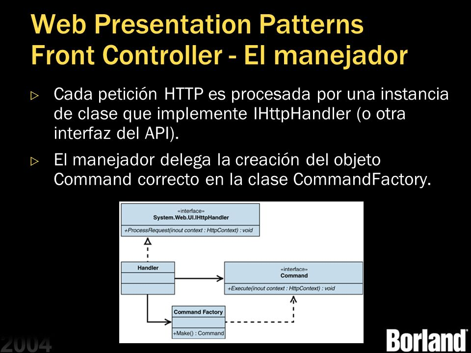 Web Presentation Patterns Front Controller - El manejador