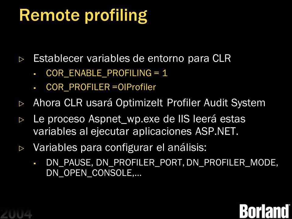 Remote profiling Establecer variables de entorno para CLR
