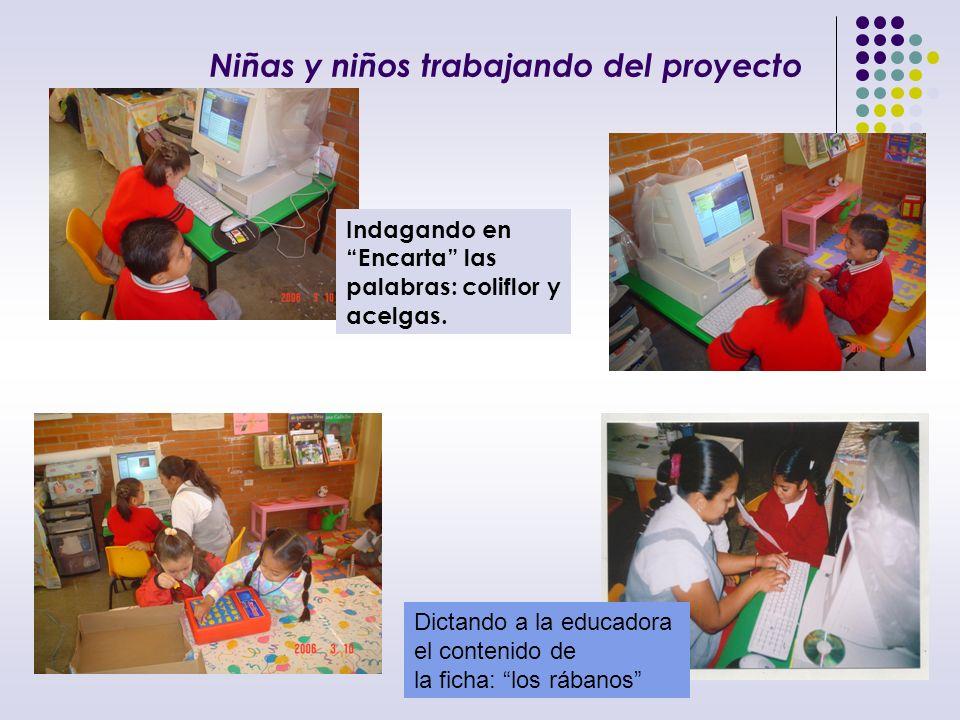 Niñas y niños trabajando del proyecto