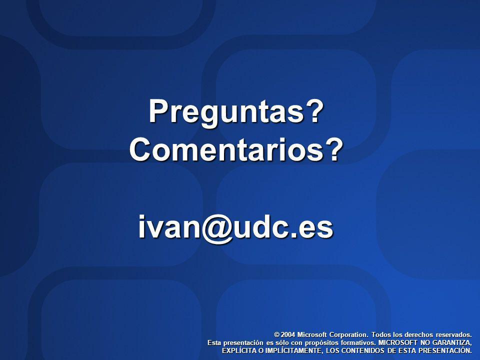 Preguntas Comentarios ivan@udc.es