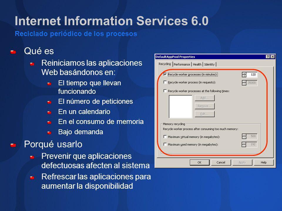 Internet Information Services 6.0 Reciclado periódico de los procesos