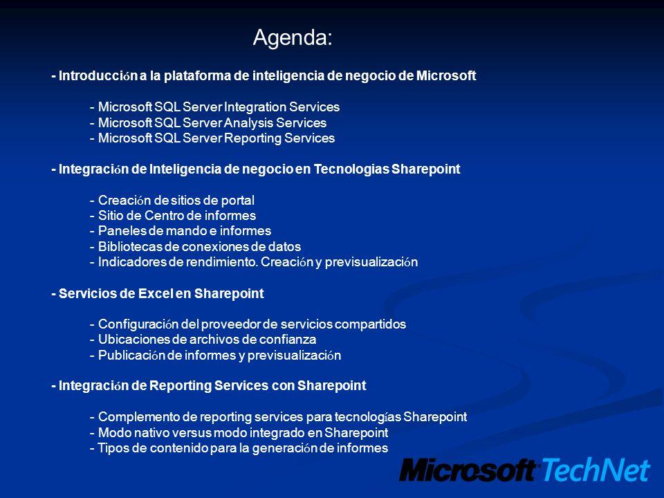 Agenda: - Introducción a la plataforma de inteligencia de negocio de Microsoft. - Microsoft SQL Server Integration Services.