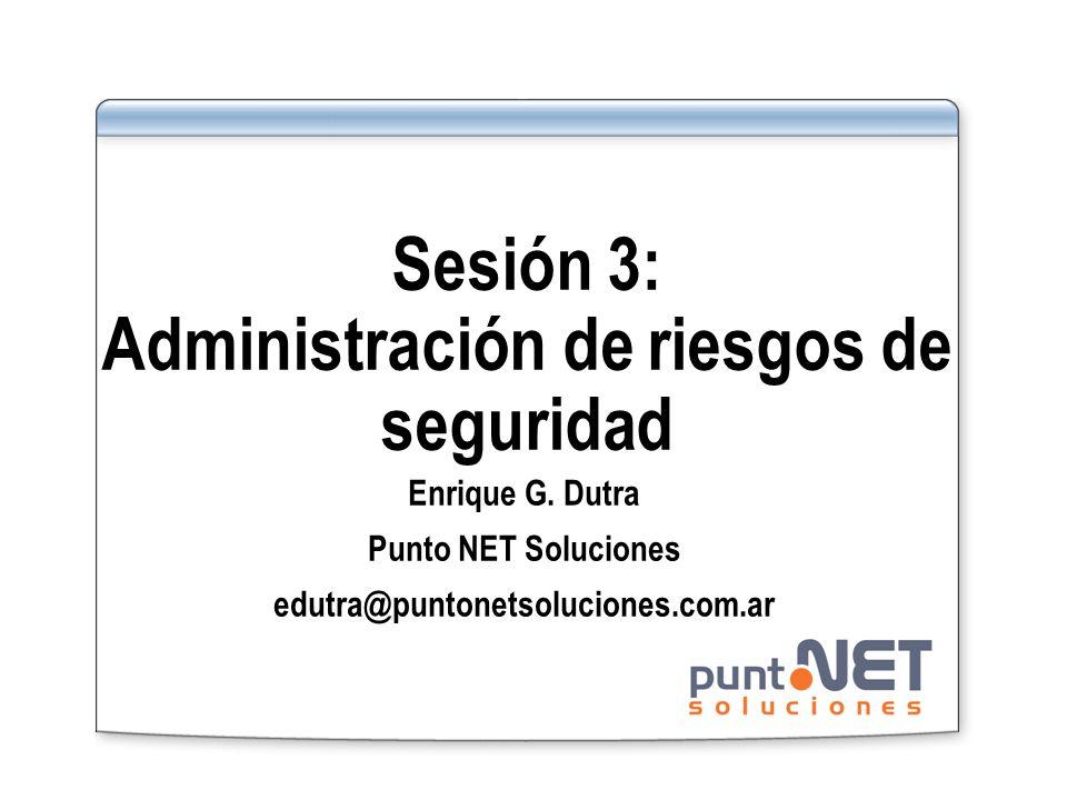 Sesión 3: Administración de riesgos de seguridad