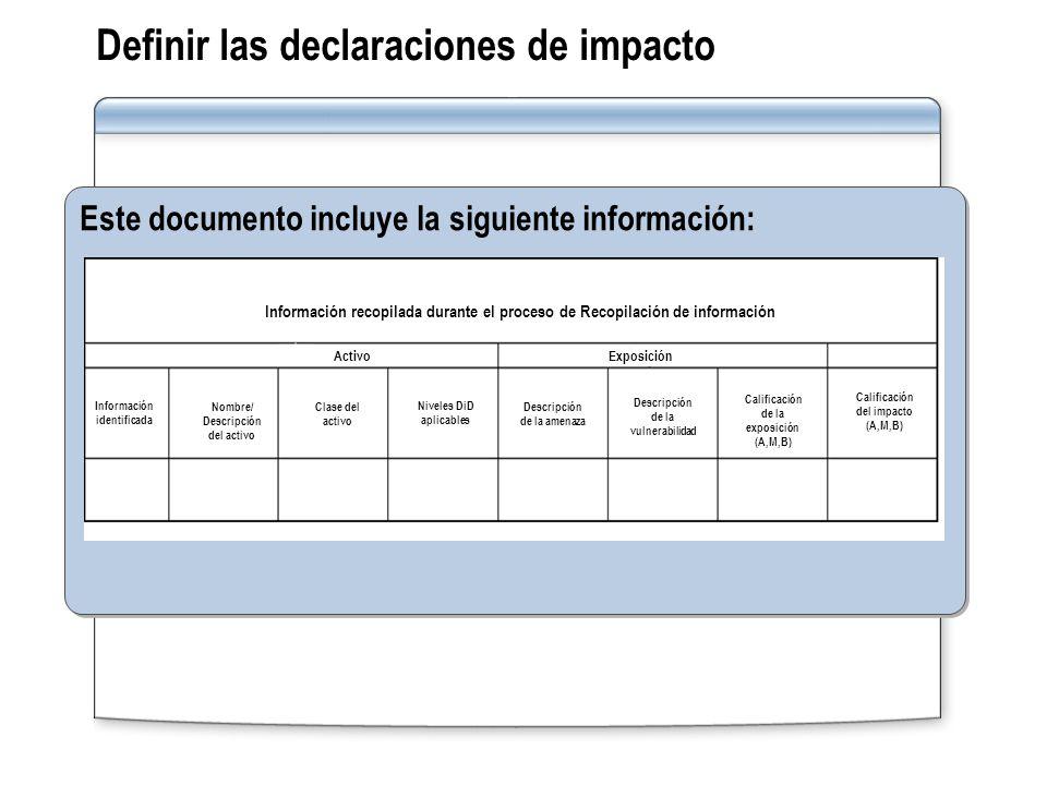 Definir las declaraciones de impacto