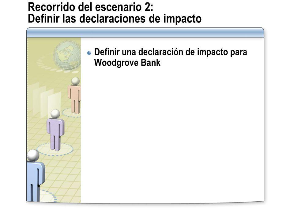 Recorrido del escenario 2: Definir las declaraciones de impacto