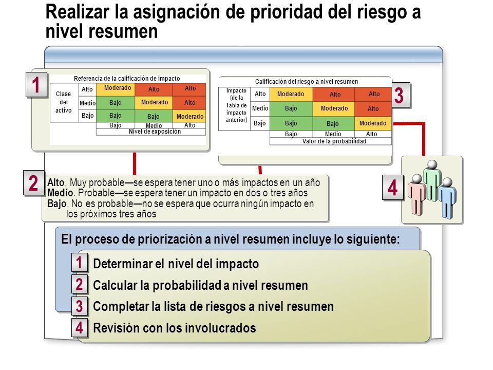 Realizar la asignación de prioridad del riesgo a nivel resumen