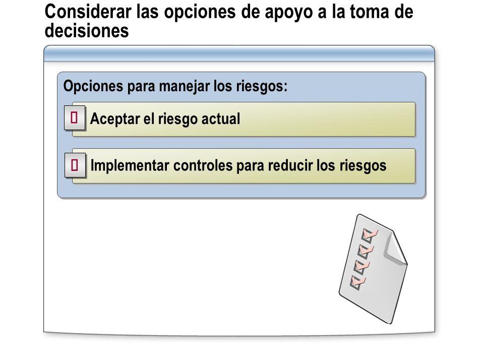 Considerar las opciones de apoyo a la toma de decisiones