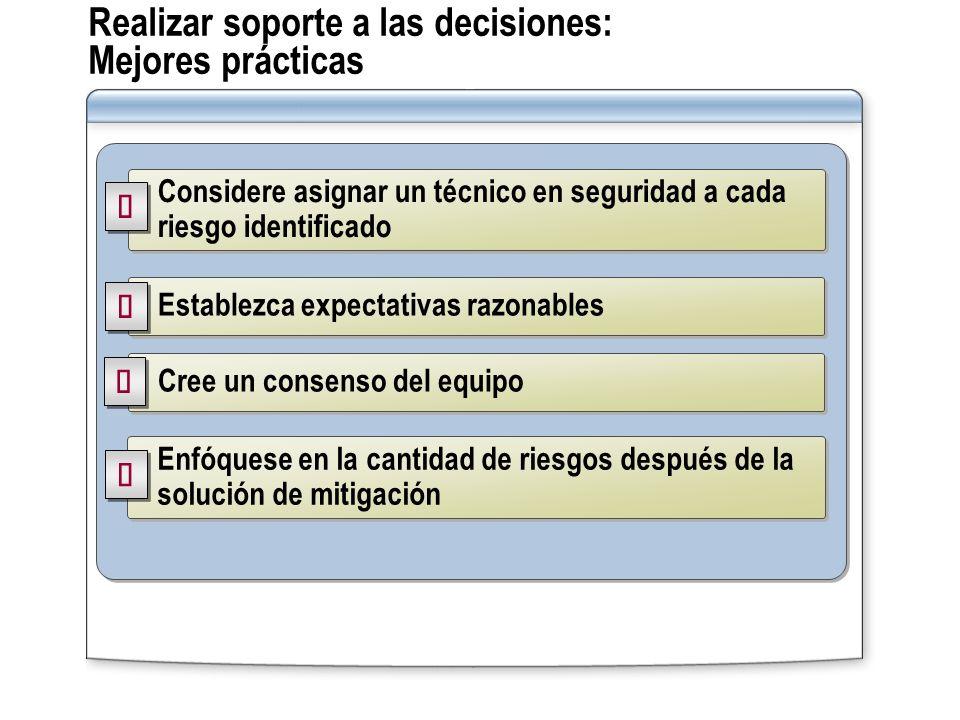 Realizar soporte a las decisiones: Mejores prácticas