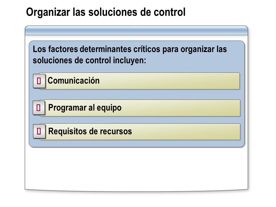 Organizar las soluciones de control