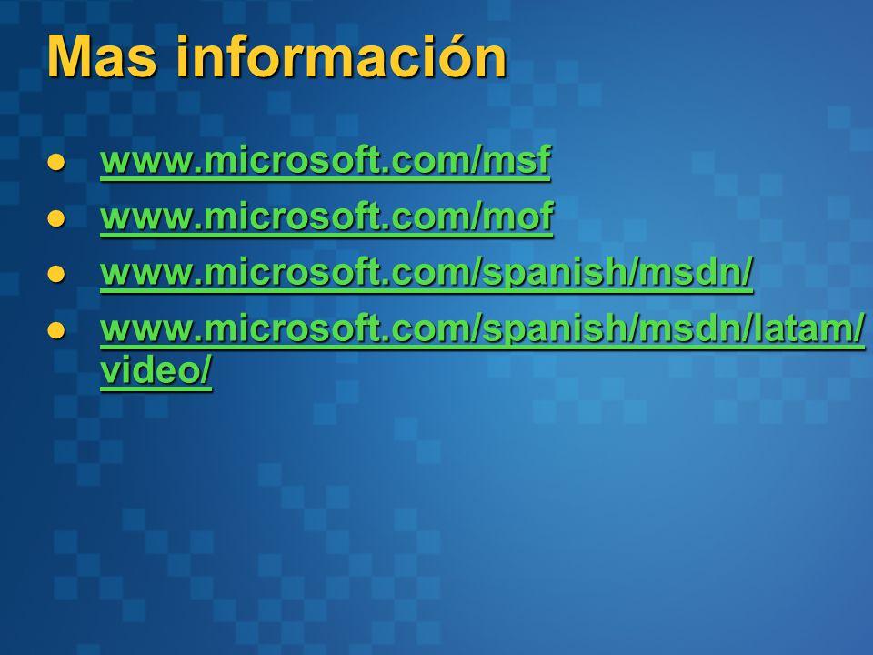 Mas información www.microsoft.com/msf www.microsoft.com/mof