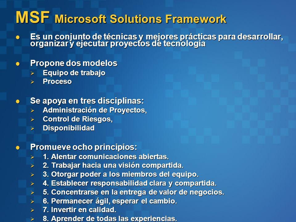 MSF Microsoft Solutions Framework