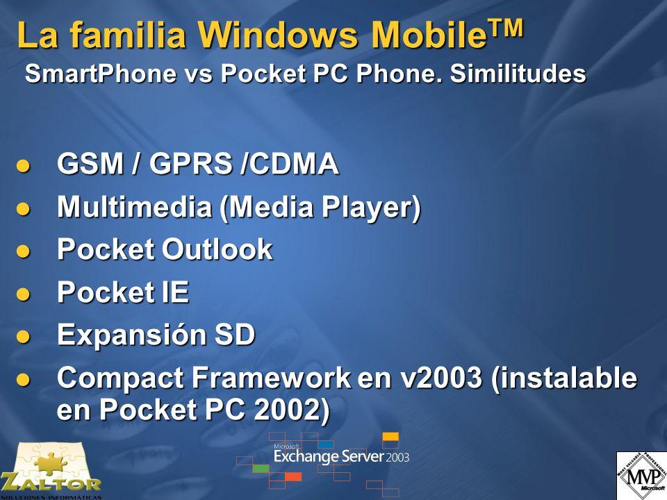 La familia Windows MobileTM SmartPhone vs Pocket PC Phone. Similitudes