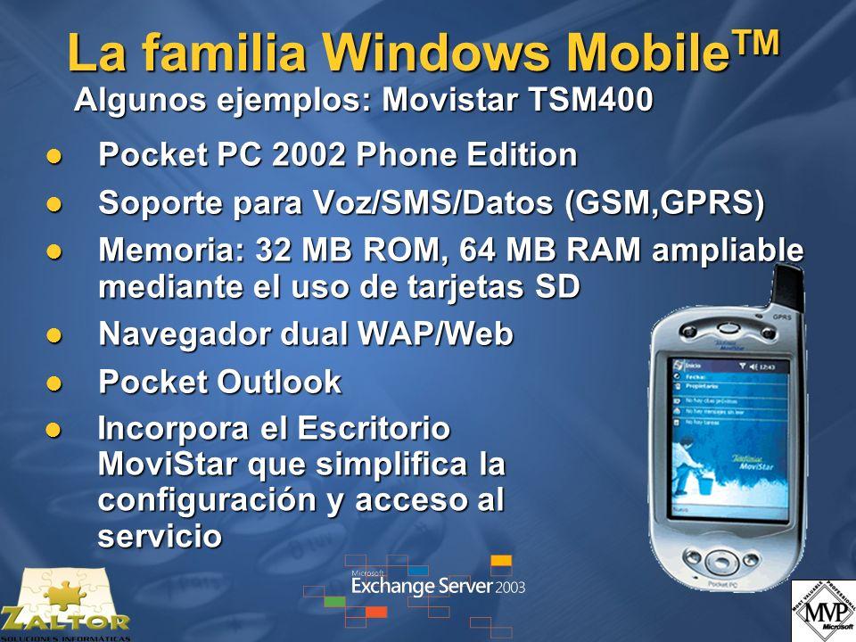 La familia Windows MobileTM Algunos ejemplos: Movistar TSM400