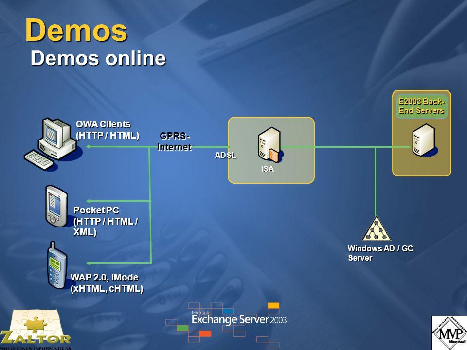 Demos Demos online OWA Clients (HTTP / HTML) GPRS-Internet