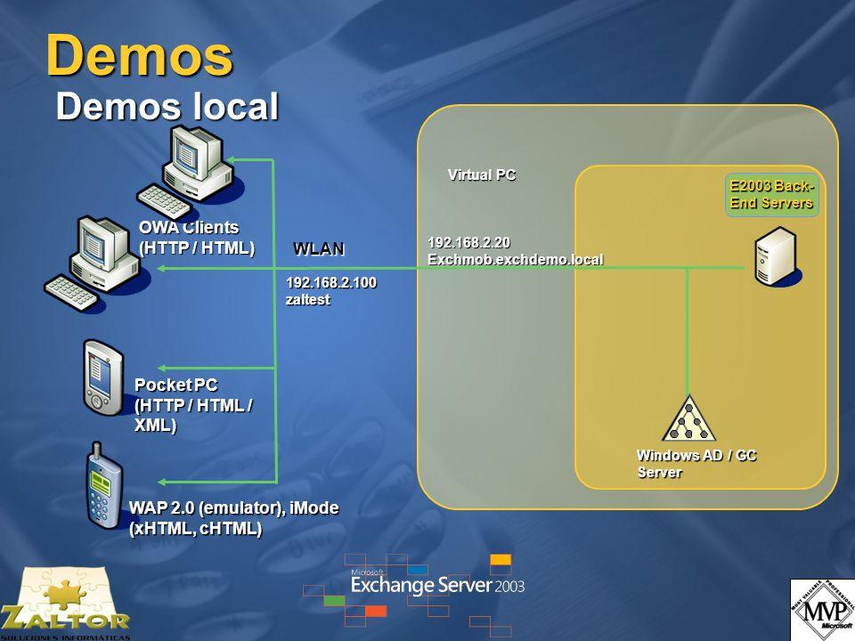 Demos Demos local OWA Clients (HTTP / HTML) WLAN