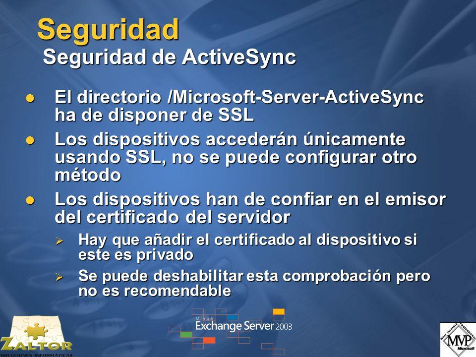 Seguridad Seguridad de ActiveSync