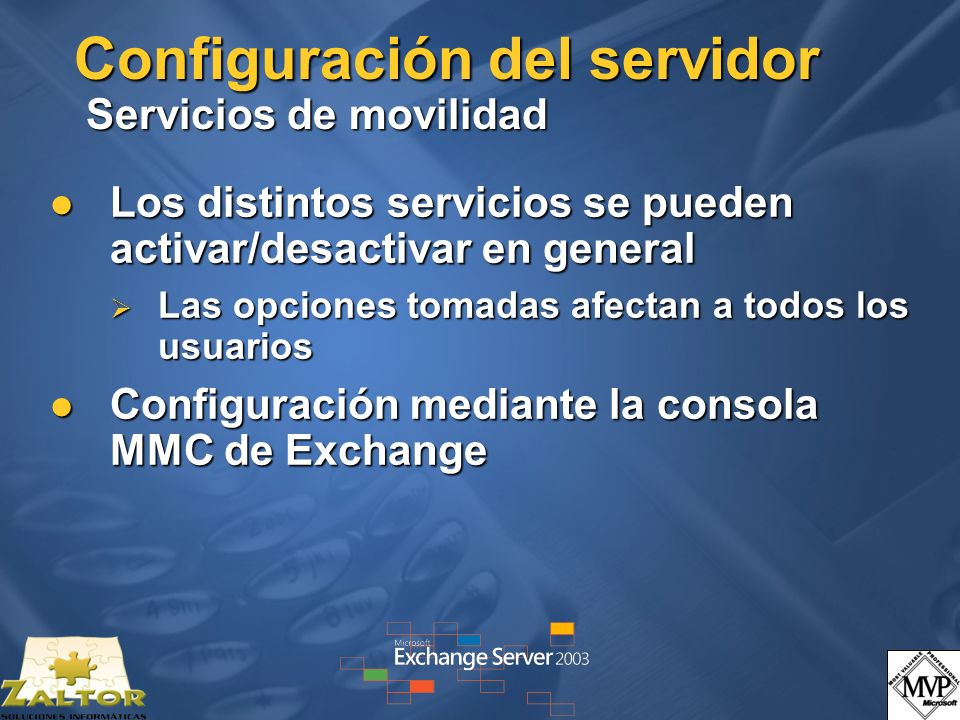 Configuración del servidor Servicios de movilidad