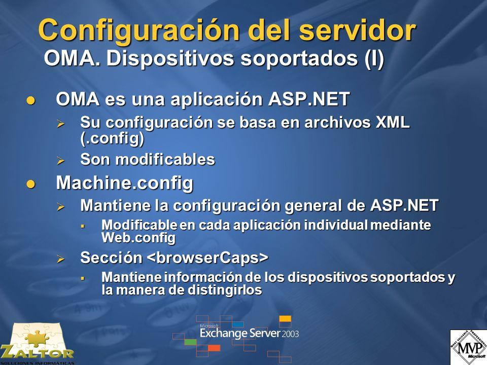 Configuración del servidor OMA. Dispositivos soportados (I)