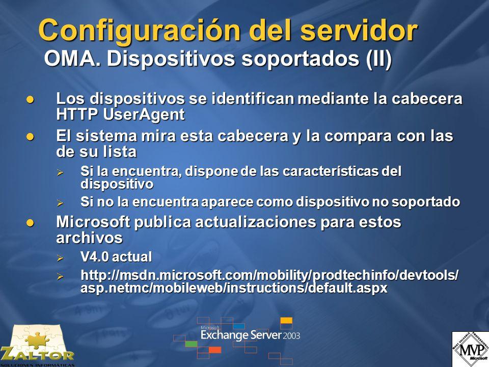 Configuración del servidor OMA. Dispositivos soportados (II)
