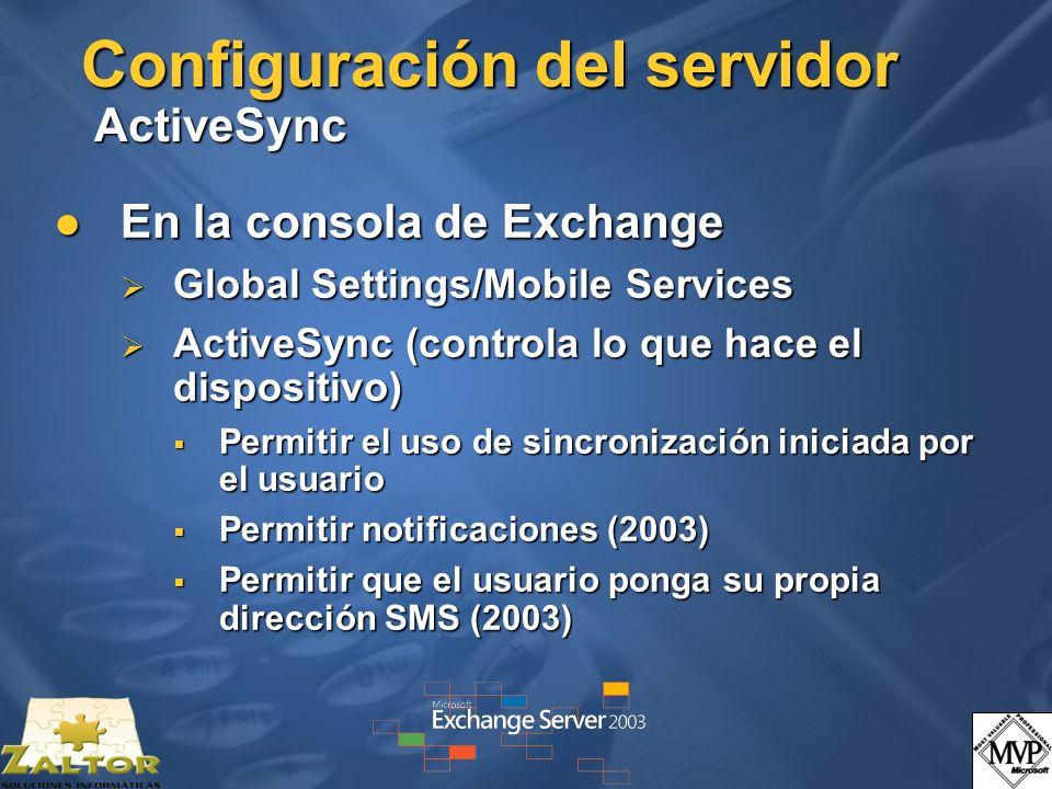 Configuración del servidor ActiveSync