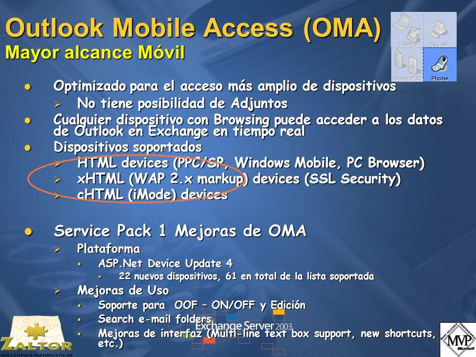 Outlook Mobile Access (OMA) Mayor alcance Móvil