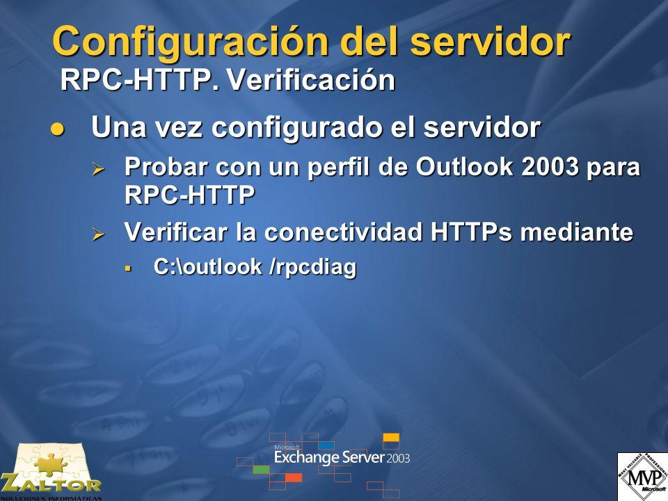 Configuración del servidor RPC-HTTP. Verificación