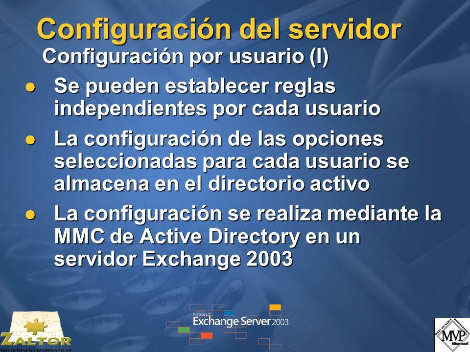 Configuración del servidor Configuración por usuario (I)