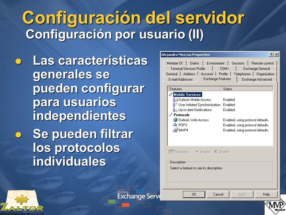 Configuración del servidor Configuración por usuario (II)