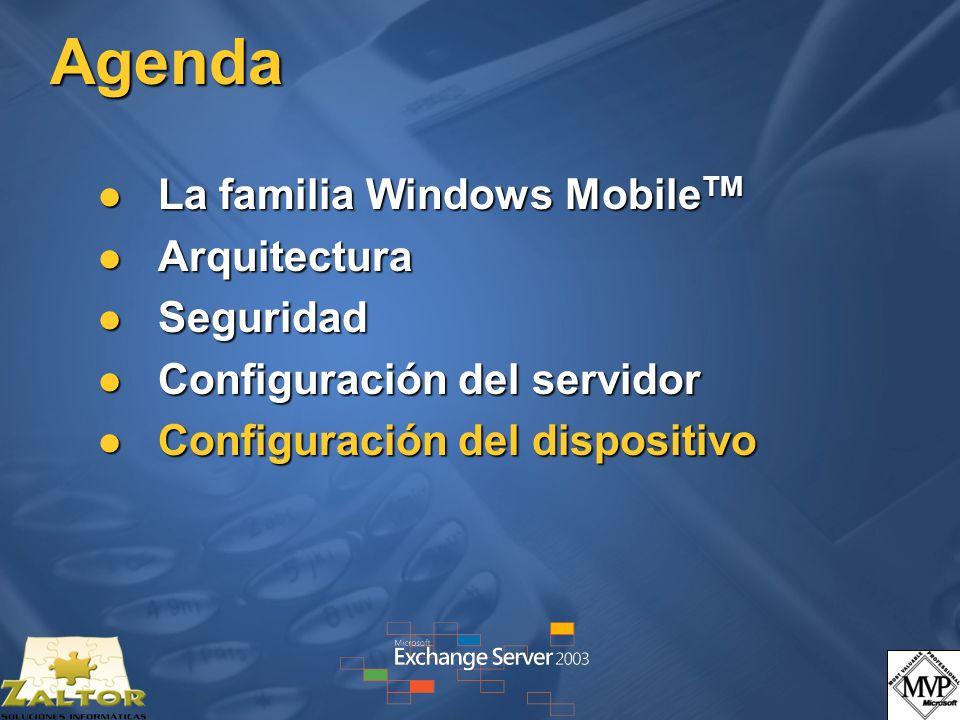 Agenda La familia Windows MobileTM Arquitectura Seguridad