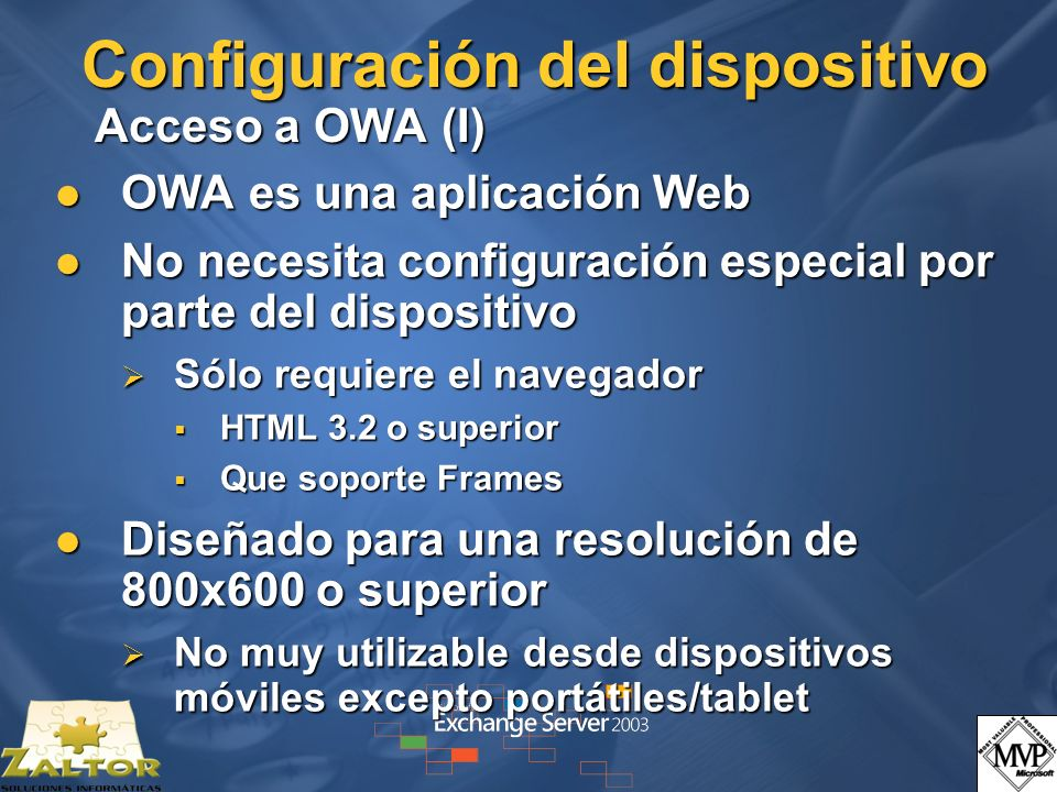 Configuración del dispositivo Acceso a OWA (I)