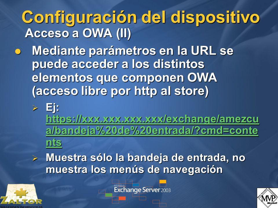 Configuración del dispositivo Acceso a OWA (II)