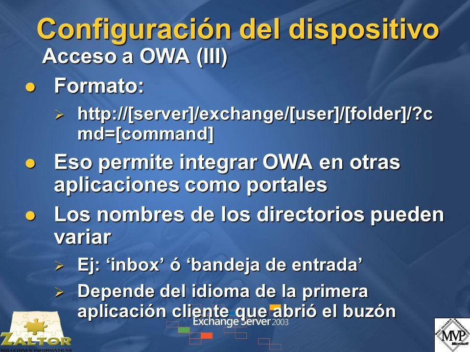 Configuración del dispositivo Acceso a OWA (III)