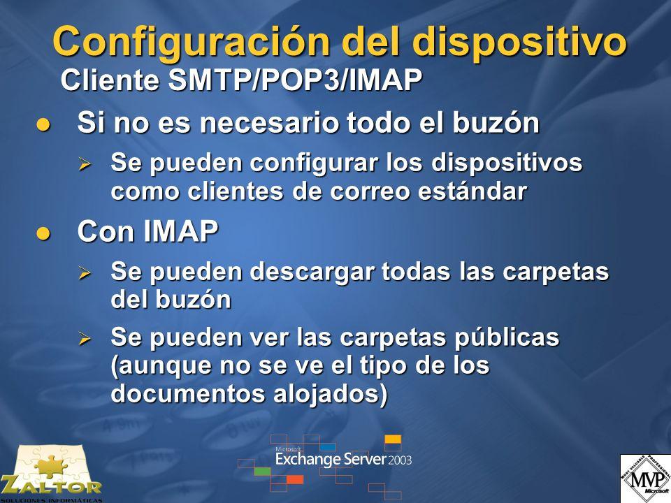 Configuración del dispositivo Cliente SMTP/POP3/IMAP
