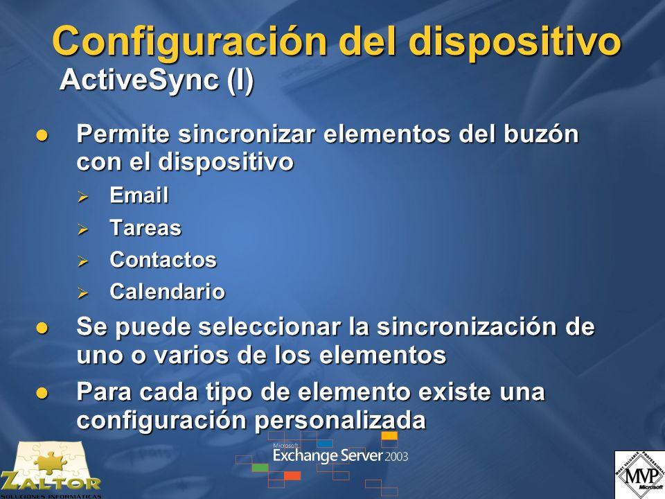 Configuración del dispositivo ActiveSync (I)