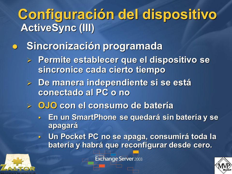 Configuración del dispositivo ActiveSync (III)