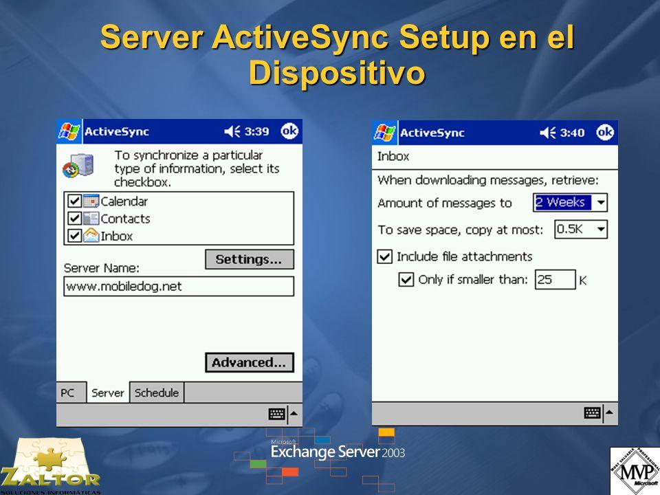 Server ActiveSync Setup en el Dispositivo