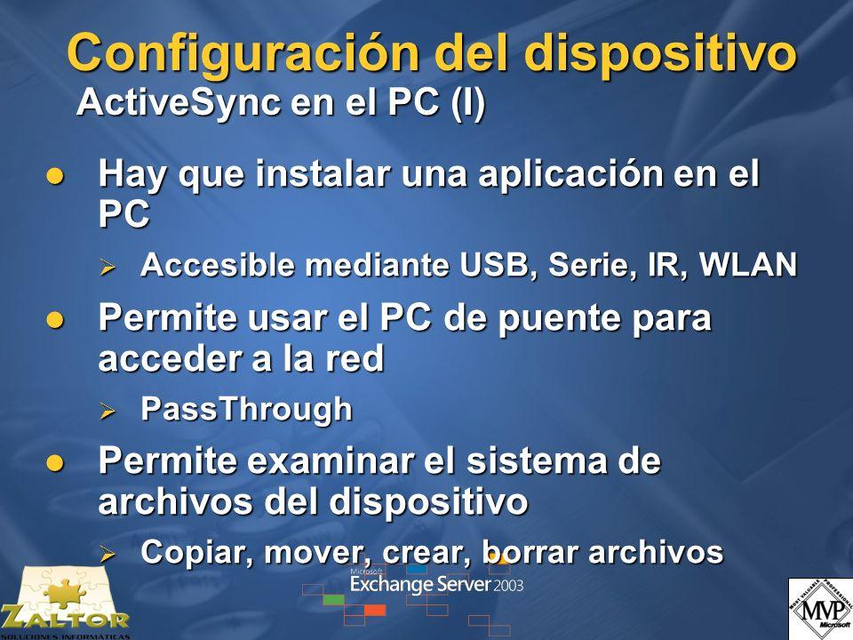 Configuración del dispositivo ActiveSync en el PC (I)