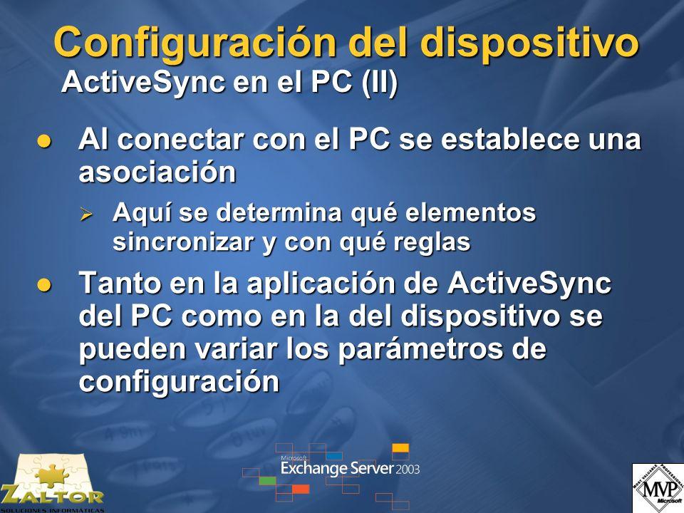 Configuración del dispositivo ActiveSync en el PC (II)