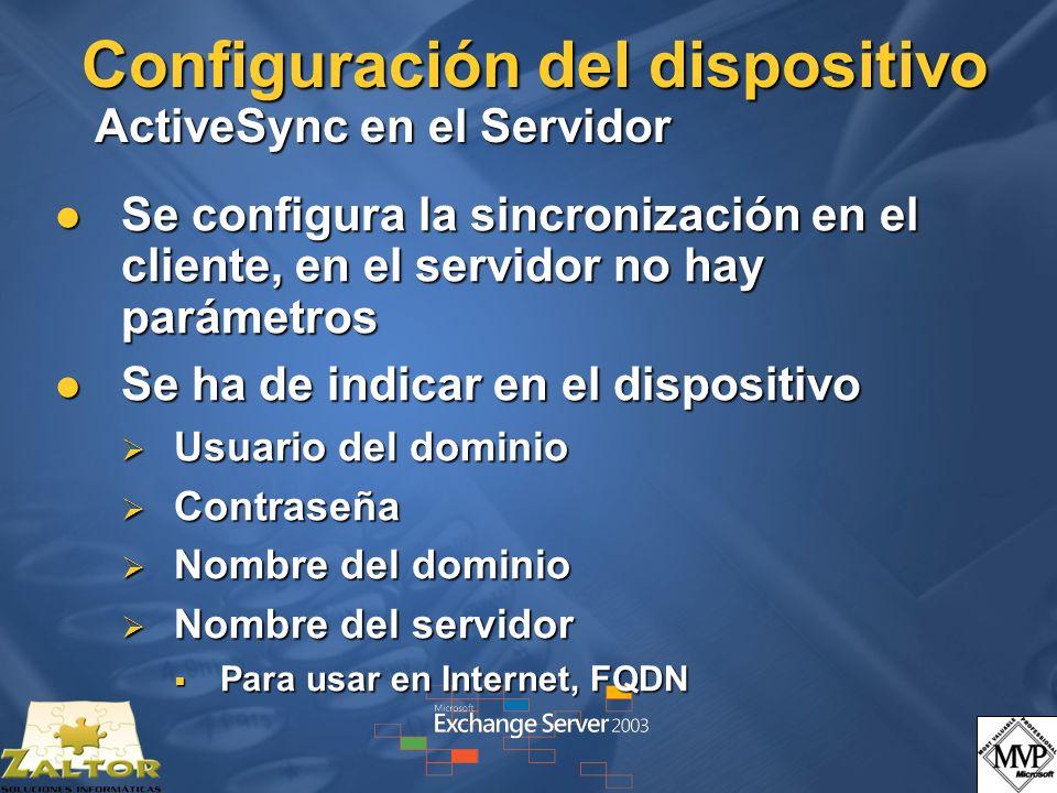 Configuración del dispositivo ActiveSync en el Servidor