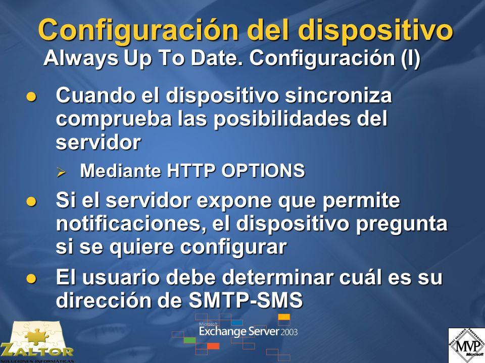 Configuración del dispositivo Always Up To Date. Configuración (I)