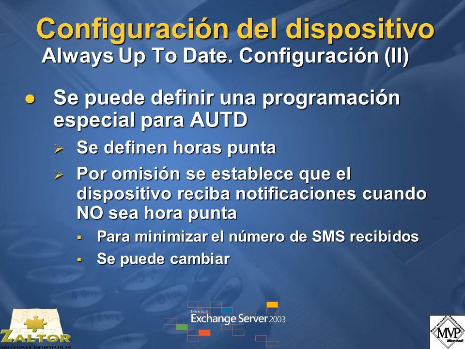 Configuración del dispositivo Always Up To Date. Configuración (II)