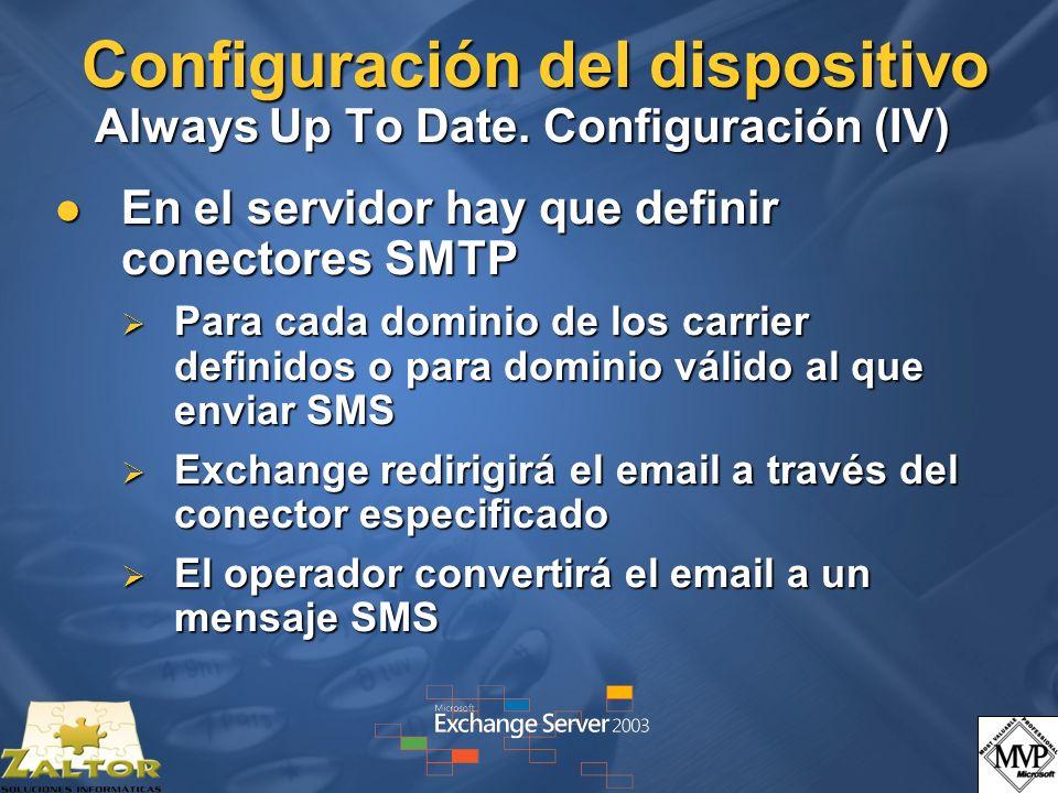 Configuración del dispositivo Always Up To Date. Configuración (IV)