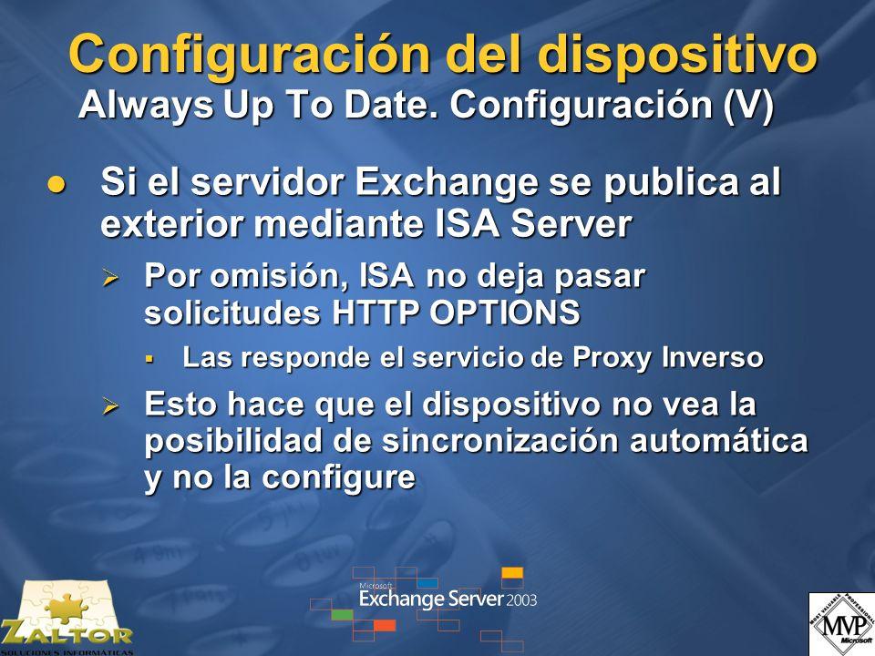 Configuración del dispositivo Always Up To Date. Configuración (V)