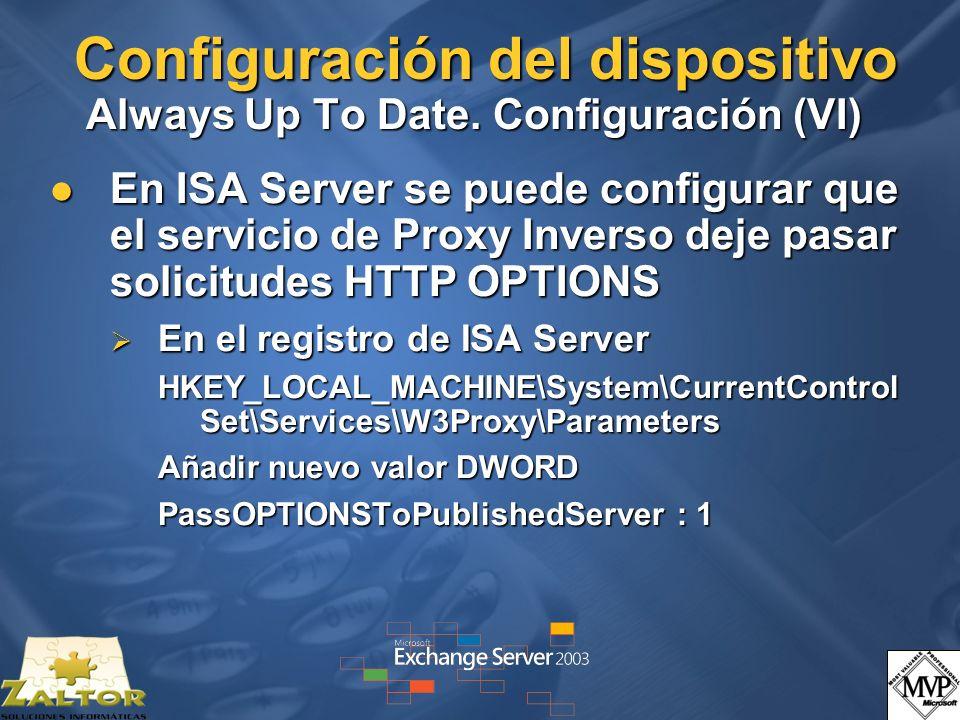 Configuración del dispositivo Always Up To Date. Configuración (VI)